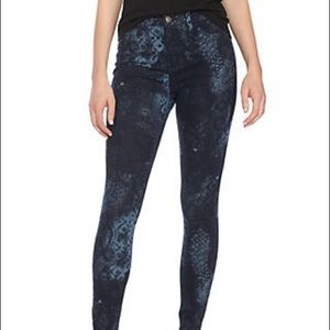 Free People Lacey Snake Print Skinny Jeans